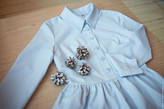 Платья ручной работы. Ярмарка Мастеров - ручная работа. Купить Платье - рубашка голубое из хлопкового жаккарда. Handmade. Голубой