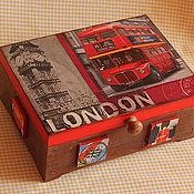 """Для дома и интерьера ручной работы. Ярмарка Мастеров - ручная работа Коробка-шкатулка  """"Лондон"""". Handmade."""