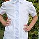 Одежда для девочек, ручной работы. Ярмарка Мастеров - ручная работа. Купить Школьная блузка белоснежная вышитая. Handmade. Машинная вышивка