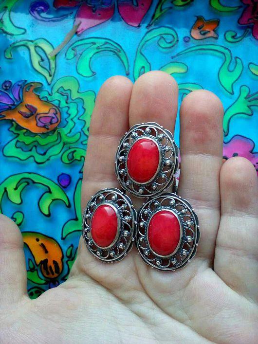 Комплекты украшений ручной работы. Ярмарка Мастеров - ручная работа. Купить 241 Комплект серебрение серьги и кольцо с камнями. Handmade.