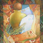 """Картины и панно ручной работы. Ярмарка Мастеров - ручная работа Батик """"Натюрморт с тарелкой"""". Handmade."""