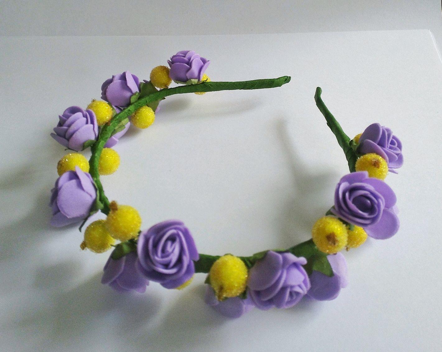 Венок на голову, ободок с цветами,  цветы из фоамирана,ободок, веночек, Диадемы, Уварово,  Фото №1
