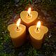 Свечи ручной работы. Ярмарка Мастеров - ручная работа. Купить Восковая свеча Сердечко (свечи из пчелиного воска). Handmade. Желтый