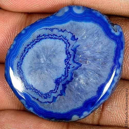Для украшений ручной работы. Ярмарка Мастеров - ручная работа. Купить кабошон из оникса - голубая планета. Handmade. Оникс