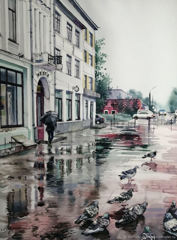 Акварель Дождь в городе – купить онлайн на Ярмарке Мастеров – OX7YYRU   Картины, Шуя