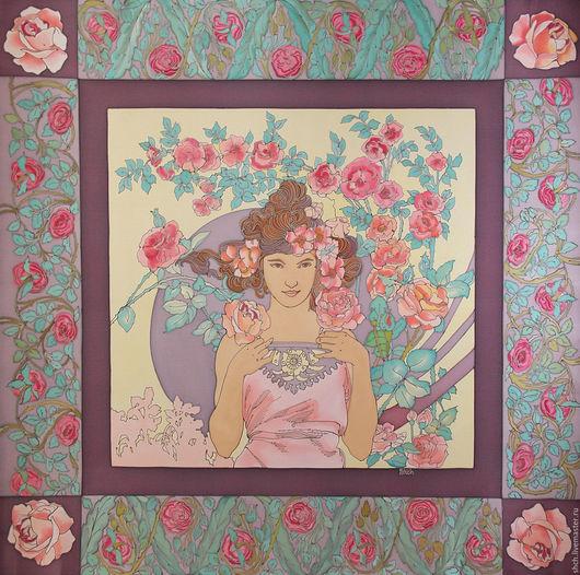 Платок по мотивам работы Альфонса Мухи `Роза`  Шёлковый Платок батик На заказ может быть выполнен в разных размерах. Цена батик платка зависит от выбранного размера.