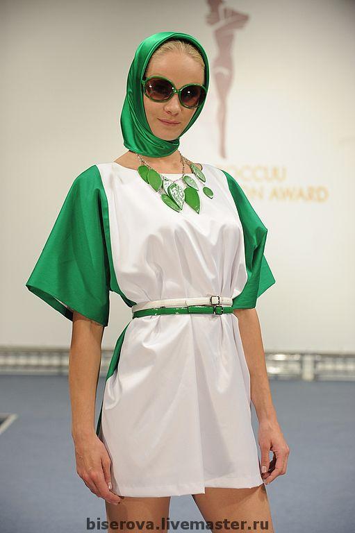 Платья ручной работы. Ярмарка Мастеров - ручная работа. Купить Бело- зеленое мини платье с цельнокроеным рукавом. Handmade. Платье