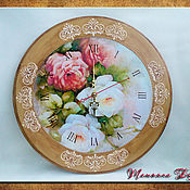 Для дома и интерьера handmade. Livemaster - original item Wall clock with roses.. Handmade.