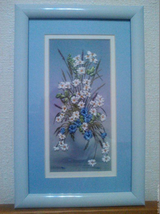 """Картины цветов ручной работы. Ярмарка Мастеров - ручная работа. Купить Вышивка лентами """"Ваза с цветами. Миниатюра"""". Handmade. Голубой"""