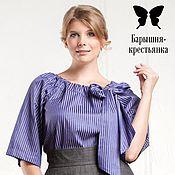 Одежда ручной работы. Ярмарка Мастеров - ручная работа Блуза Крестьянка синяя. Handmade.