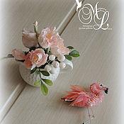 Украшения handmade. Livemaster - original item Brooch FLAMINGO.Brooch Miniature Textile. Handmade.