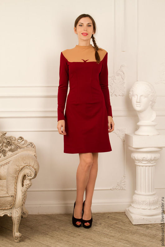 """Платья ручной работы. Ярмарка Мастеров - ручная работа. Купить Платье """"W"""". Handmade. Бордовый, Коктейльное платье, нарядное платье"""