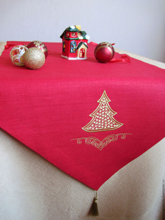 Дорожка вышитая на стол Елочка кружевная, Вышитые салфетки, Салфетки с вышивкой, Новогодний интерьер, Новогодний подарок, Подарок на Новый год, Новый год, Подарок на Рождество, Рождественский подарок