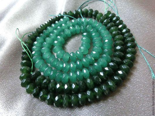Нефрит бусина рондель зеленый граненый. Бусины нефрита для колье, нефрит бусины для браслетов, нефритовая бусина рондель для серег.