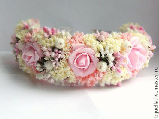 Диадемы, обручи ручной работы. Ярмарка Мастеров - ручная работа. Купить Веночек-ободок  для волос Утренняя роза. Handmade.