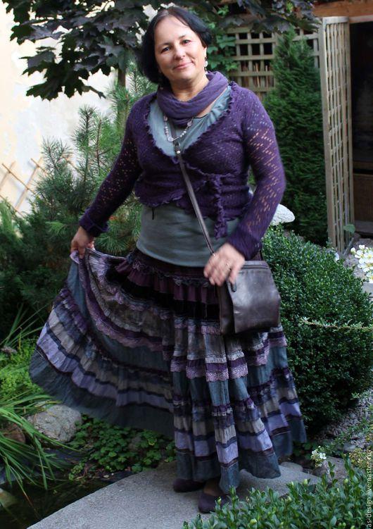 Юбки ручной работы. Ярмарка Мастеров - ручная работа. Купить Многоярусная живописная, сиреневая ,длинная юбка в стиле BOHO.. Handmade.