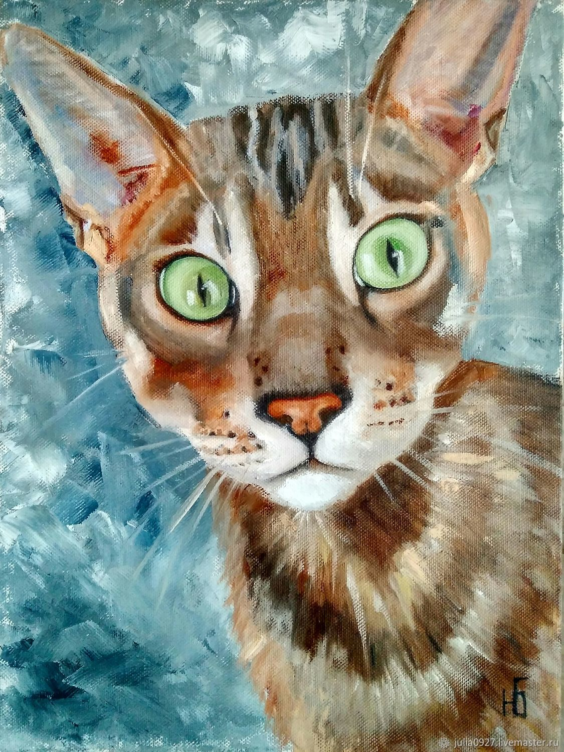 Painting Funny cat oil painting on canvas with a cat, Pictures, Ekaterinburg,  Фото №1
