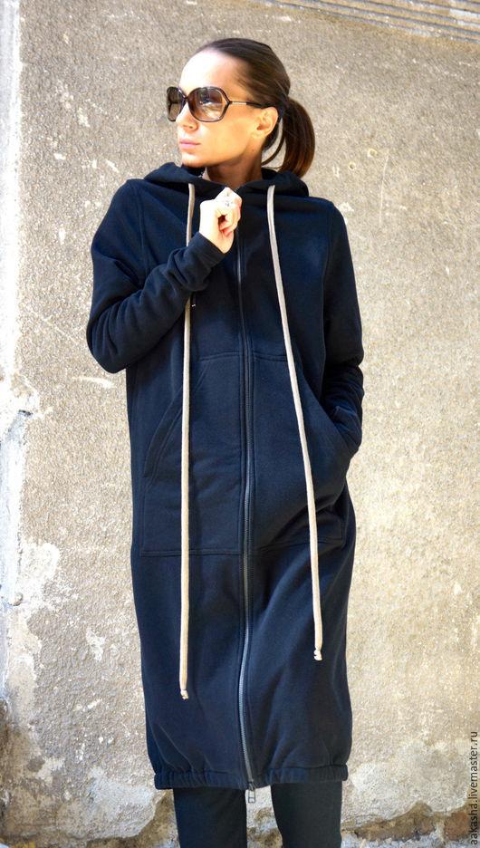 пальто толстовка длинное пальто на молнии с капюшоном спортивное пальто стильное пальто