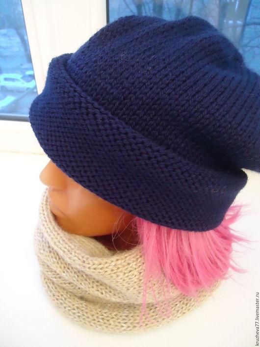 Шапки ручной работы. Ярмарка Мастеров - ручная работа. Купить Шапка из мериносовой полушерсти.. Handmade. Тёмно-синий, шапка