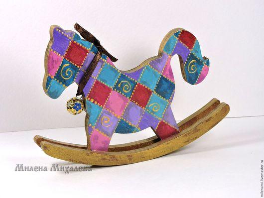 лошадка-качалка `Венеция`, лошадка игрушка,  лошадка сувенир, расписная игрушка, ручная роспись, подарок ребенку, лошадь, деревянные игрушки