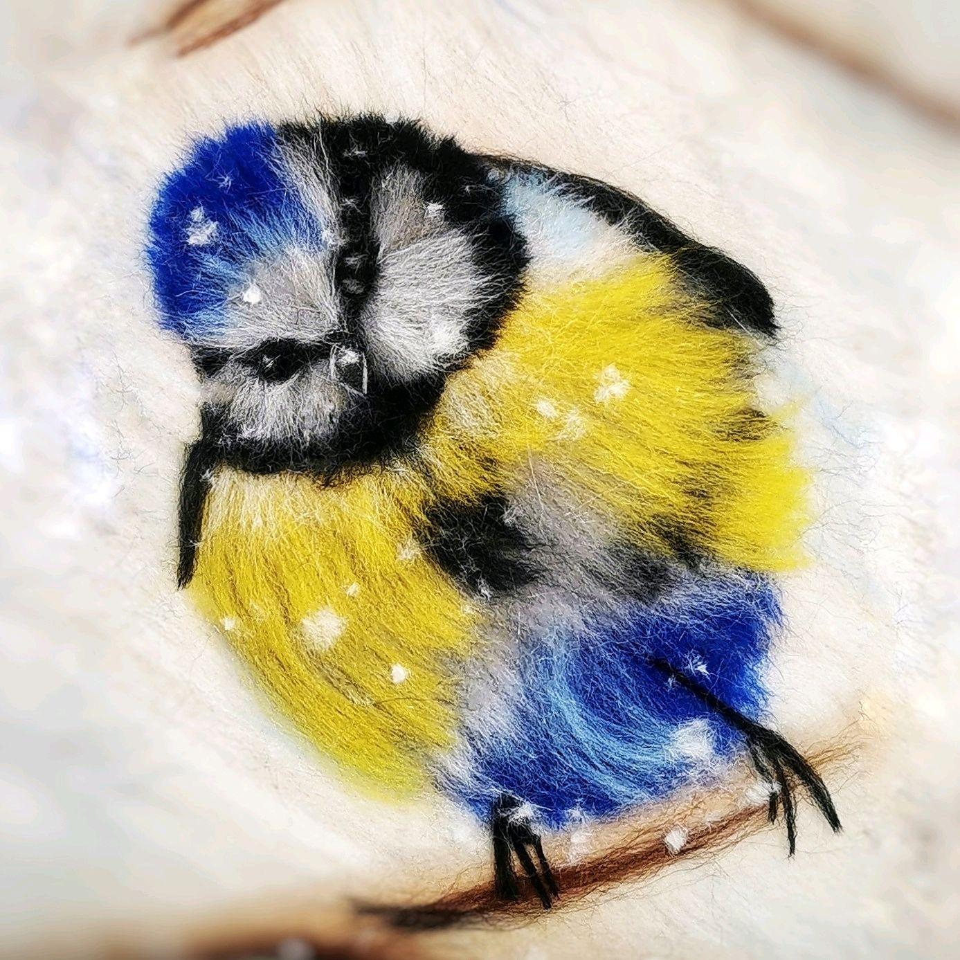 Картина из шерсти Синичка в метелицу, Картины, Рубцовск,  Фото №1