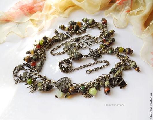 Колье сотуар Алиса в стране Чудес натуральные камни, бронза, украшения колье, из натуральных камней, подарок девушке женщине, колье серьги сережки бусы, модное стильное, с агатом с ониксом, с натураль