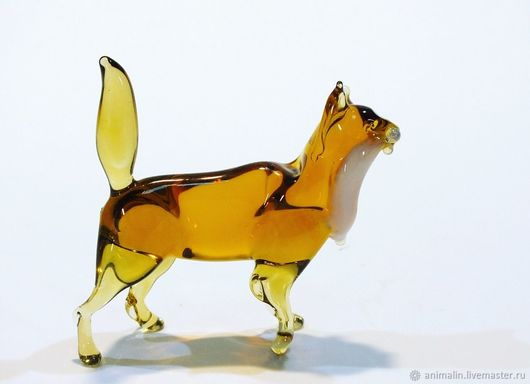 Toy Miniatures handmade. Livemaster - handmade. Buy Interior figurine made of colored glass cat Apricot.Decor, glass