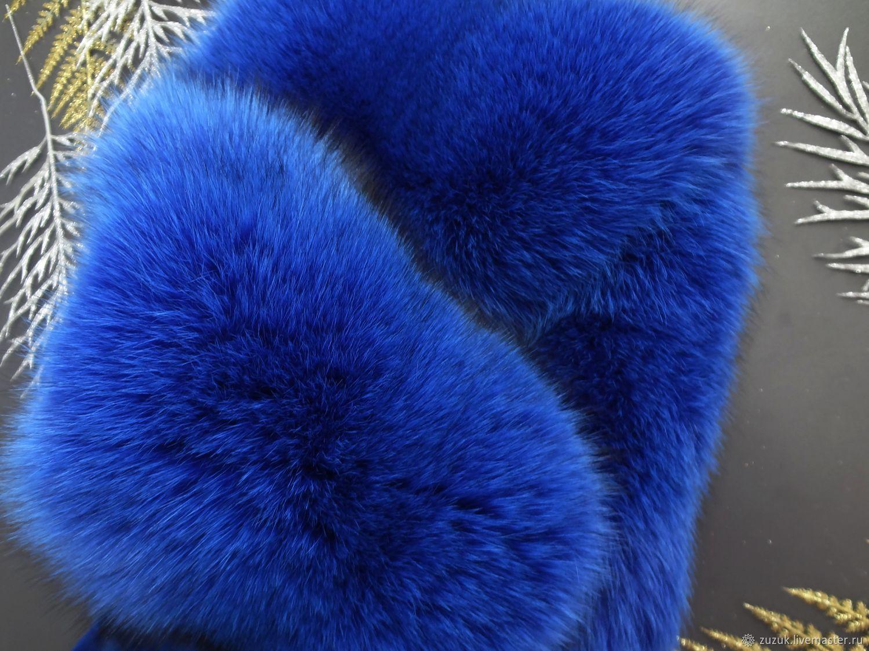 Опушка меховая из синего песца цвет Кобальт, Мех, Екатеринбург,  Фото №1