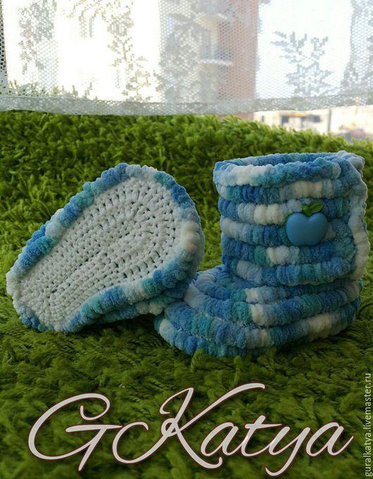 """Для новорожденных, ручной работы. Ярмарка Мастеров - ручная работа. Купить Комплект """"Весеннее небо"""". Handmade. Голубой, пинетки, полиэстер"""