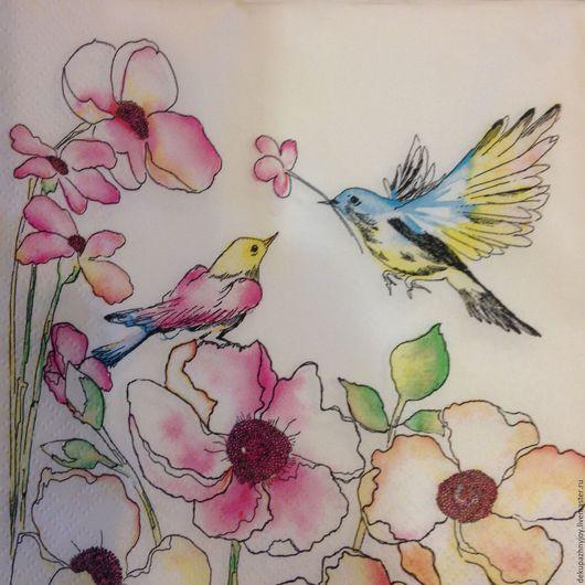 Салфетка для декупажа - Птички невелички и цветочки Декупажная радость
