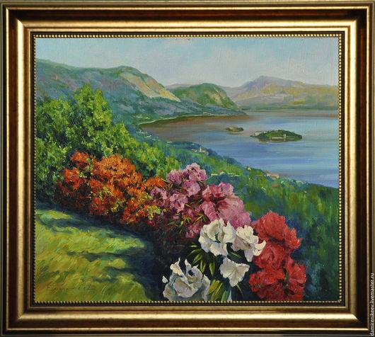 Пейзаж ручной работы. Ярмарка Мастеров - ручная работа. Купить Картина маслом на холсте в раме пейзаж.Цветы у моря. Handmade.