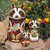 Русский стиль handmade. Livemaster - original item Matryoshka Smaka Raccoons painting. Handmade.