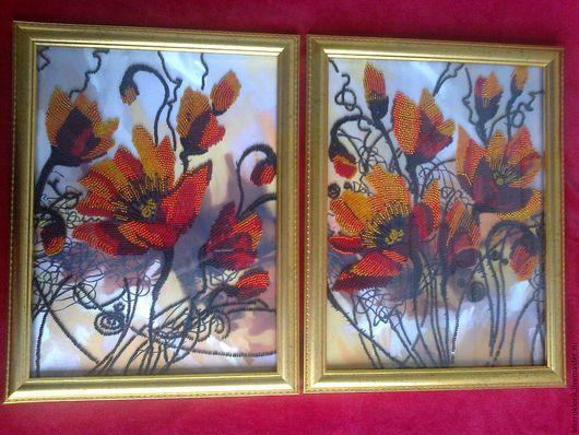вышивка бисером на атласе `Огненные цветы`