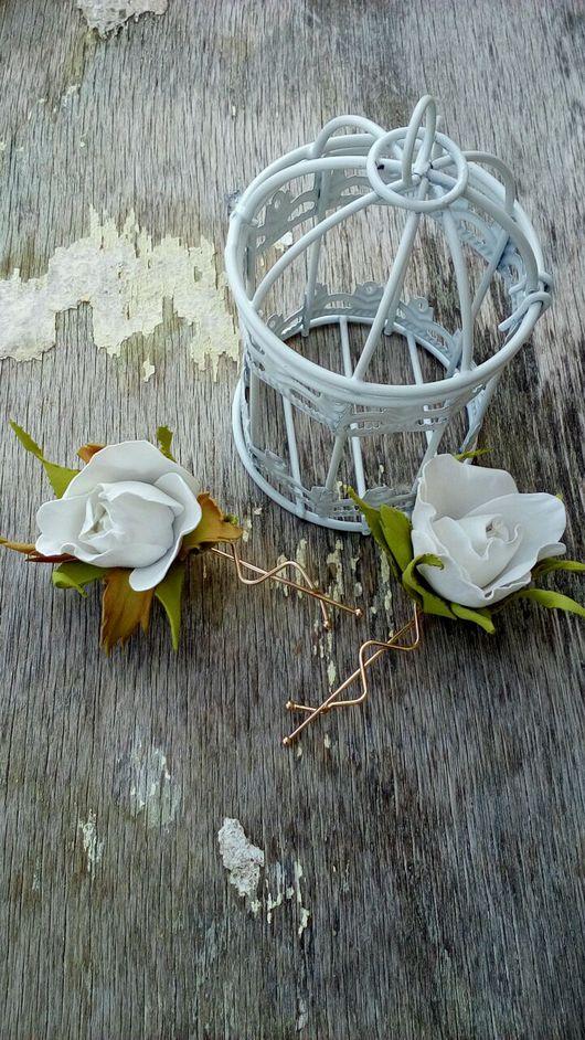 """Заколки ручной работы. Ярмарка Мастеров - ручная работа. Купить Заколка для волос """" Бутон розы"""". Цветы в волосы.. Handmade."""