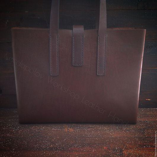 Женские сумки ручной работы. Ярмарка Мастеров - ручная работа. Купить Кожаная сумка тоут 82. Handmade. Коричневый, bag