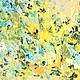 Большая пастозная картина желтая светло-лимонная в гостиную с бирюзовыми цветами в гостиную купить заказать масляными красками на холсте с подрамником современные художники Марина Маткина Пермь Москва