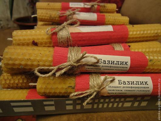 Свеча из вощины с базиликом, 20см