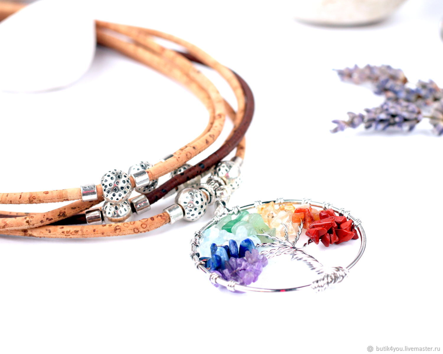 Boho necklace 'wishing Tree' on a cord of balsa wood Colar, Necklace, Moscow,  Фото №1