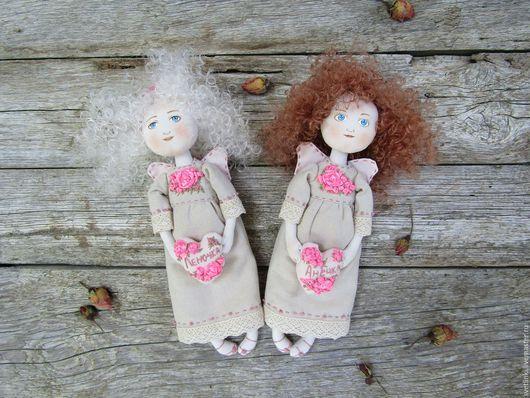 Текстильный шебби ангел. Купить именной подарок. Ярмарка мастеров. Светлинки.