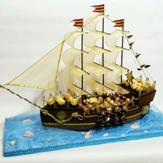 Букеты ручной работы. Ярмарка Мастеров - ручная работа. Купить Большой Корабль из конфет. Handmade. Букет из конфет, сладкий букет