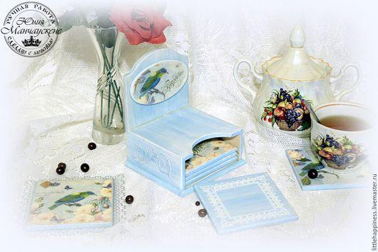 """Кухня ручной работы. Ярмарка Мастеров - ручная работа. Купить Подставки под кружки """"Синяя птица"""". Handmade. Голубой, птицы"""