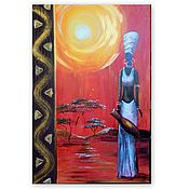 Картины и панно handmade. Livemaster - original item African woman in white-a bright picture with a raised stripe. Handmade.