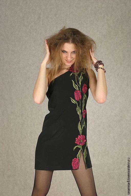 """Платья ручной работы. Ярмарка Мастеров - ручная работа. Купить Платье с вышивкой """"Тюльпаны"""". Handmade. Черный, платье, Платье красивое"""