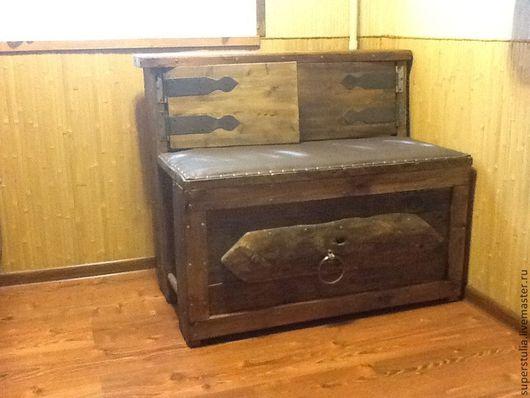 Мебель ручной работы. Ярмарка Мастеров - ручная работа. Купить Сундук со спинкой деревянный состаренный. Handmade. Коричневый
