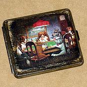 """Сувениры и подарки ручной работы. Ярмарка Мастеров - ручная работа Портсигар """"Игроки"""". Handmade."""