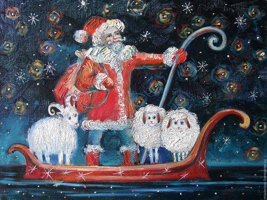 Детская ручной работы. Ярмарка Мастеров - ручная работа. Купить Дед Мороз в лодке. картина, холст, масло. 30Х40. Handmade.