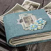 Канцелярские товары handmade. Livemaster - original item Photo album for girls Turquoise Shabby. Handmade.
