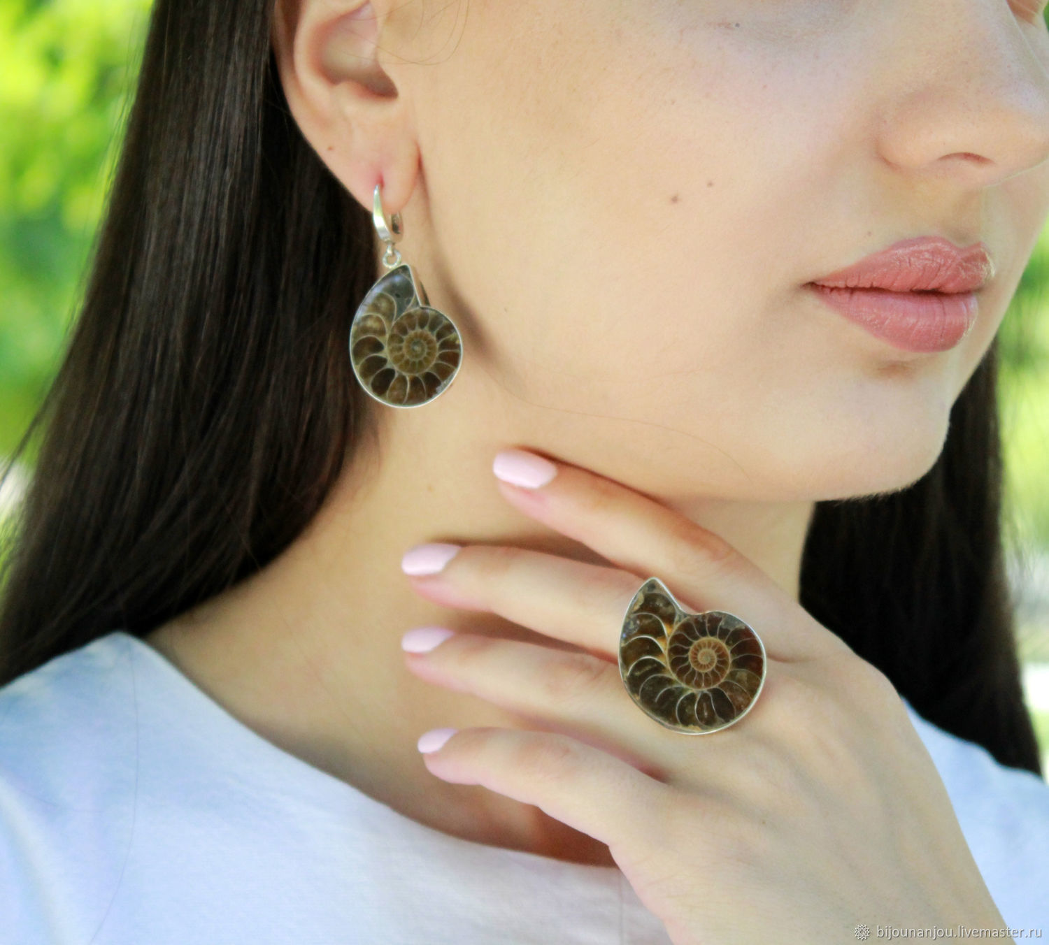 Earrings and ring with Ammonites of 925 silver, Jewelry Sets, Yerevan,  Фото №1