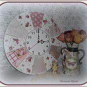 """Для дома и интерьера ручной работы. Ярмарка Мастеров - ручная работа Часы настенные большие """"Шебби лоскуток"""". Handmade."""