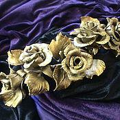Для дома и интерьера ручной работы. Ярмарка Мастеров - ручная работа Наконечник  для карниза с розами , под золото. Handmade.